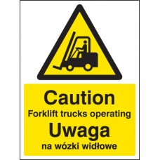 Caution Forklift Trucks Operating (English/polish)
