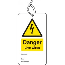 Danger Live Wires - Double Sided Safety  Tag (Pack of 10)