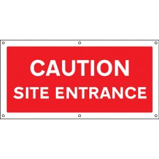 Caution Site Entrance - Banner with Eyelets