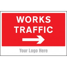 Works Traffic Only, Arrow Right - Site Saver Sign - 600 x 400mm
