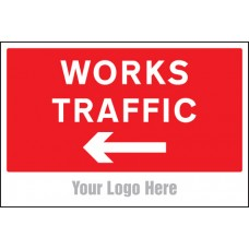 Works Traffic Only, Arrow Left - Site Saver Sign - 600 x 400mm