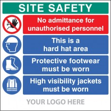 Site Safety Board, No Admittance, Hard Hat, Footwear, Hivis - Site Saver Sign 1220 x 1220mm