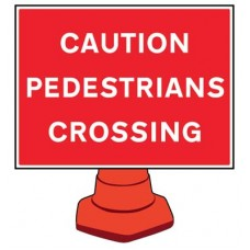 Reflective Cone Sign - Caution pedestrians crossing