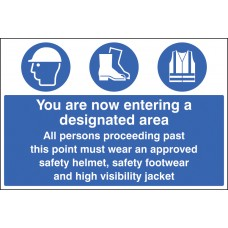 Entering Designated Area Must Wear Helmet, Footwear & Jacket