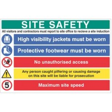 Site Safety Board - hivis, boots, liable for prosecution, 5mph